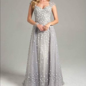 Silver floral pearl beaded gown!